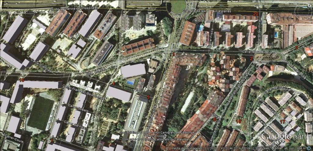Localització de parades al nord del barri de la Marina
