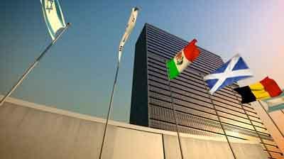 La Saltire a les Nacions Unides (foto retocada amb Photoshop)