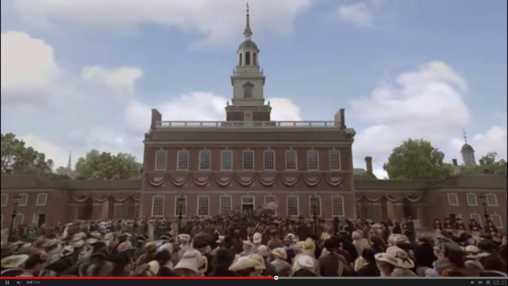 Lectura de la Declaració d'independència a Filadèlfia (de la minisèrie John Adams)