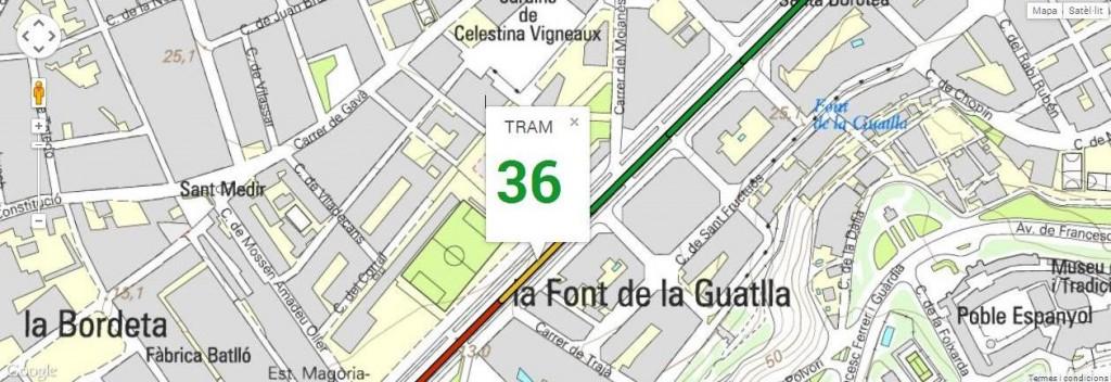 Tram 36, del carrer Trajà al carrer Mandoni, amb 127 m de longitud