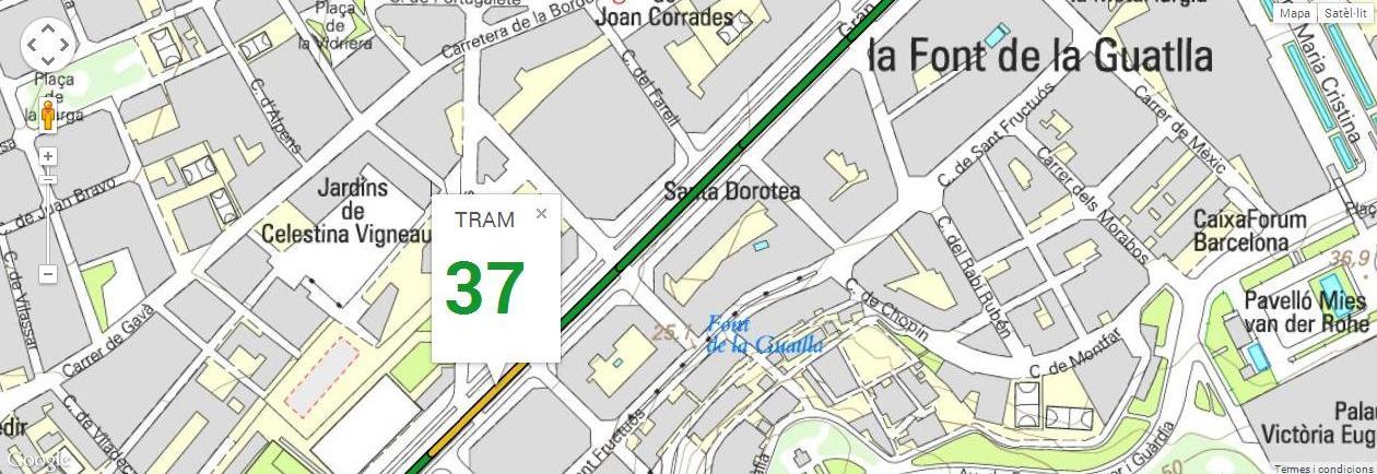 Tram 37, del carrer Mandoni al carrer Indíbil, amb 109 m de longitud