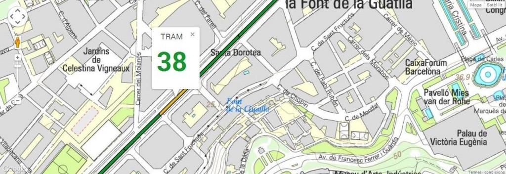 Tram 38, del carrer Indíbil, al carrer Sant Pere d'Abanto, amb 106 m de longitud