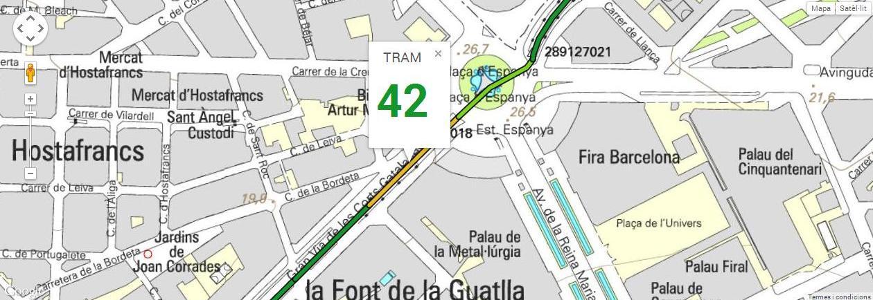 Tram 42, del carrer Mèxic a la plaça Espanya, amb 165 m de longitud