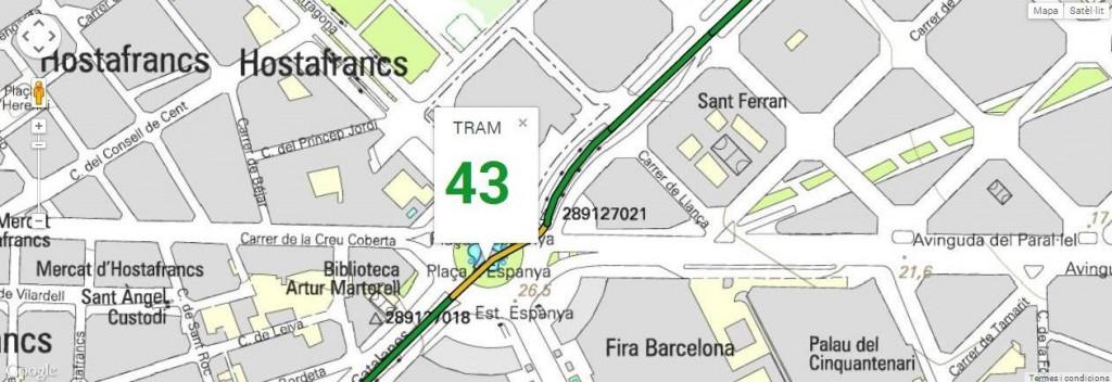 Tram 43, plaça Espanya, part central, amb 127 de longitud
