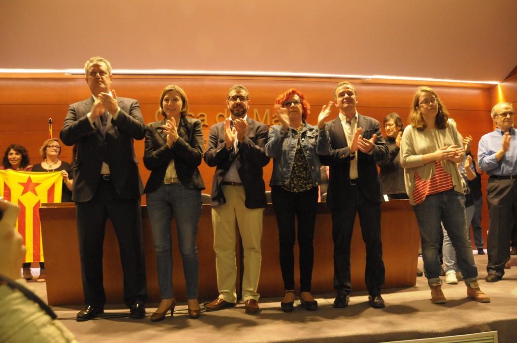 Final de l'acte unitari de l'ANC i les candidatures per la independència a Barcelona, a la Casa del Mar, el 19 de maig de 2015