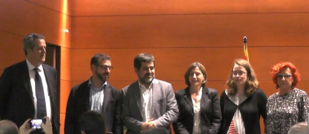 Acte unitari de l'Assemblea i les candidatures independentistes a Barcelona, a la Casa del Mar, el 19 de maig de 2015